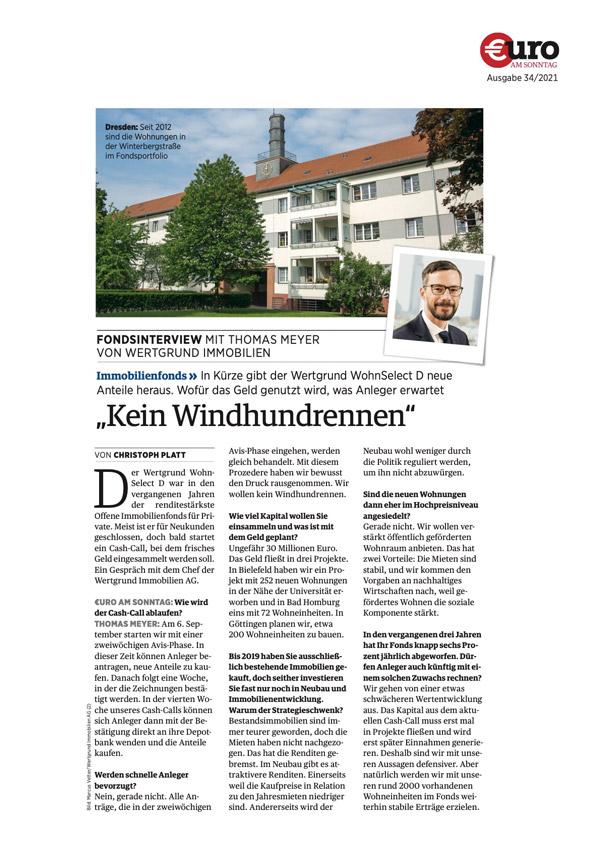 """Download PDF: """"Kein Windhundrennen"""" – In Kürze gibt der Wertgrund WohnSelect D neue Anteile heraus."""