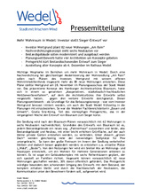 Download PDF: Mehr Wohnraum in Wedel: Investor stellt Sieger-Entwurf vor