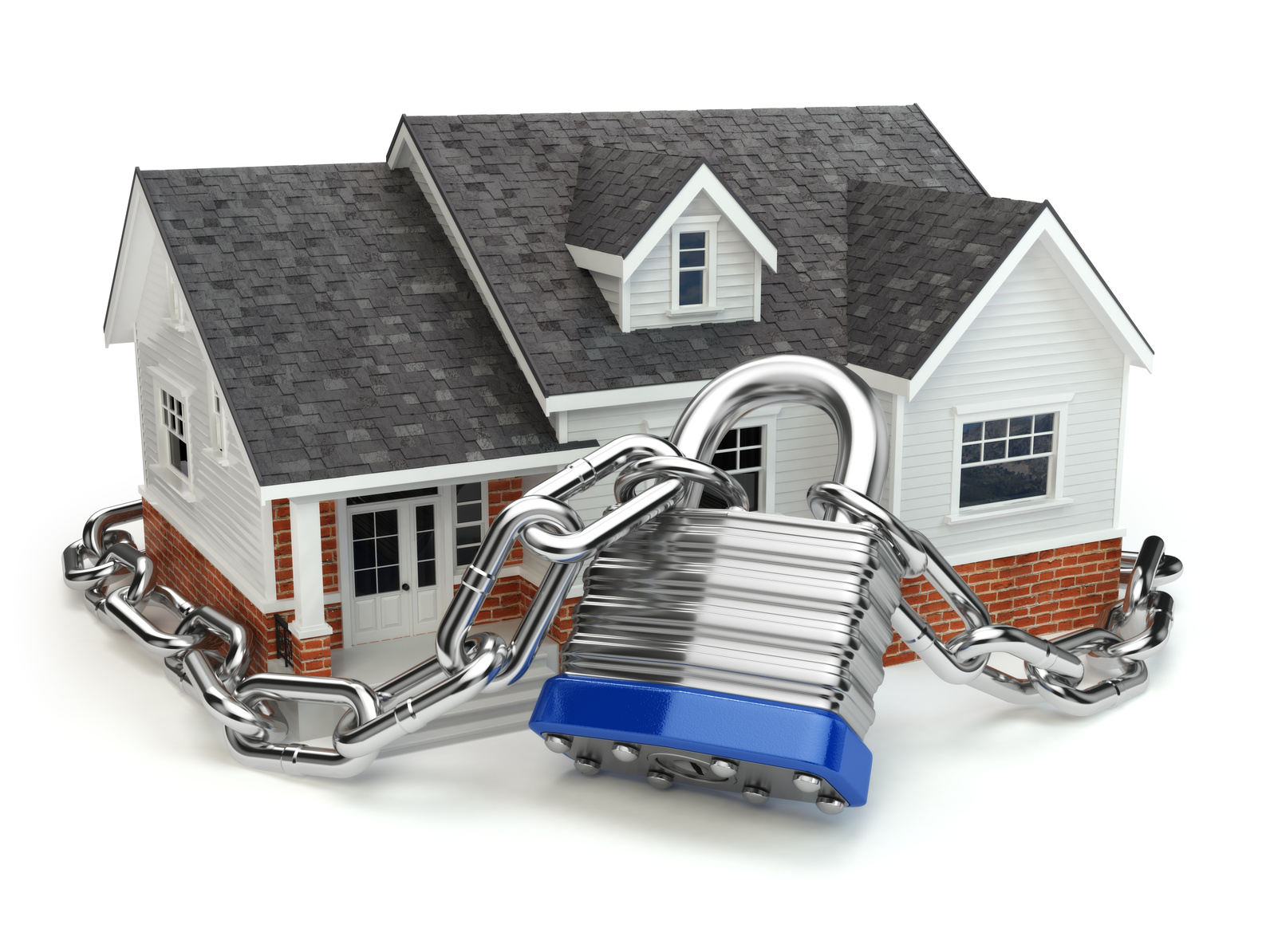 Home security concept. House with lock and chain. 3d