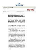Download PDF: Benson Elliot buys first of insolvent Speymill portfolios…