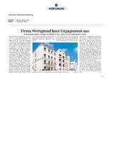Download PDF: Firma WERTGRUND baut Engagement aus – sbestände von über 20 Millionen Euro sollen weiter aufgestockt werden.Wohnung